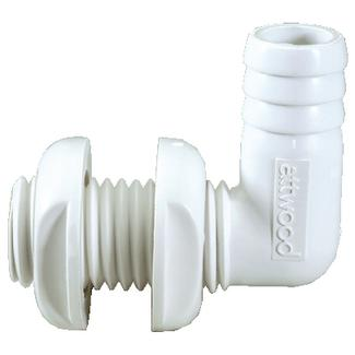 Attwood 38773 Thru-Hull Connector 90 Degree 3/4in White