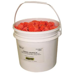 Seachoice 46010 Whistle Orange Plastic Bucket of 100 pieces